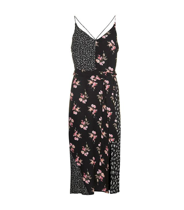 Topshop Patchwork Belted Slip Dress