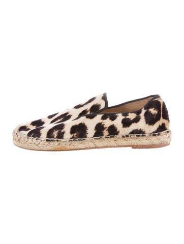 Céline Ponyhair Leopard Print Espadrilles