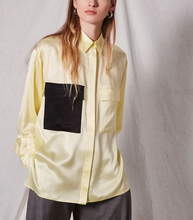 Contrast Pocket Silk Shirt