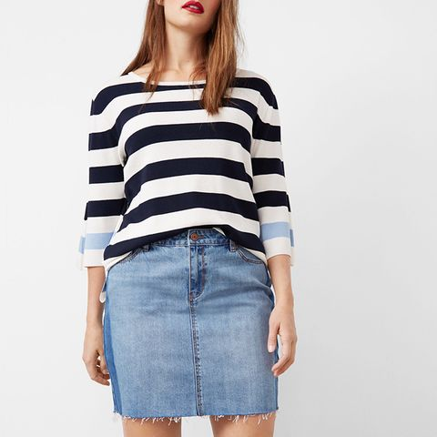 Contrast Denim Skirt
