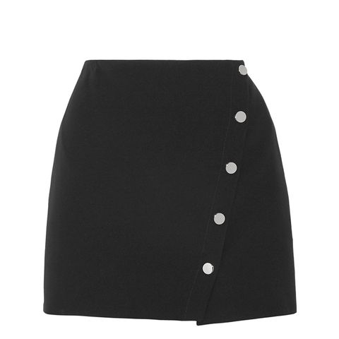 Asymmetric Cady Wrap Mini Skirt