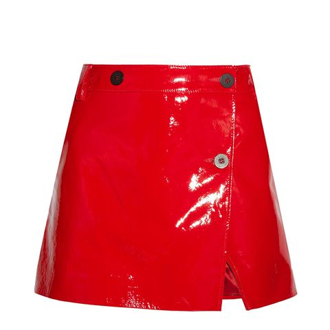 Patent-Leather Wrap Mini Skirt