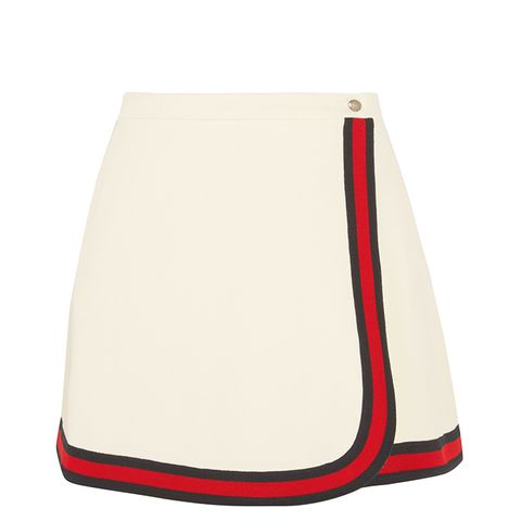 Stripe-Trimmed Twill Mini Skirt
