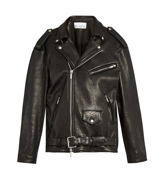 Oversized Tumbled-Leather Biker Jacket