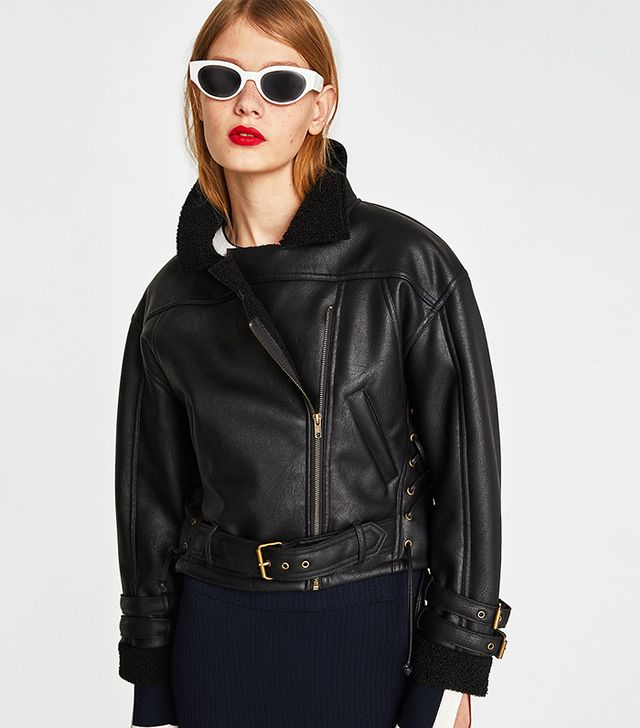 Zara Faux Leather Cropped Jacket