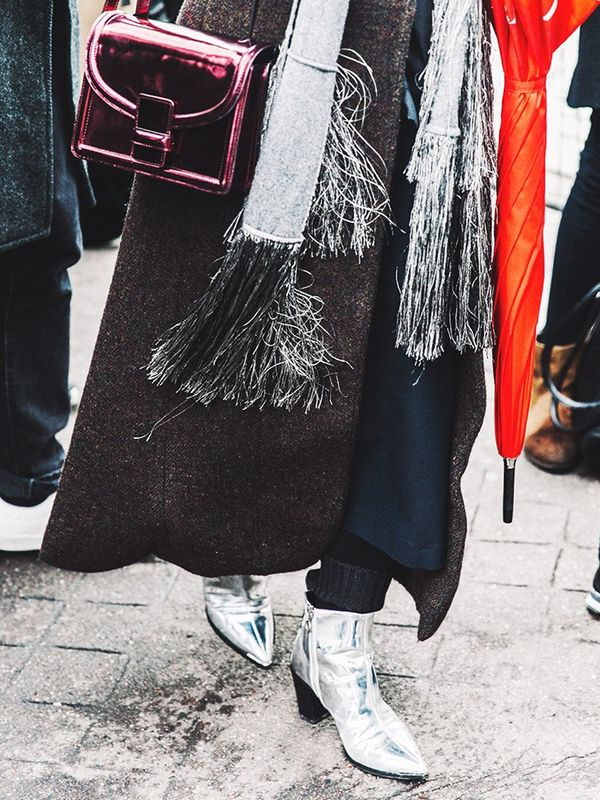 what to wear with metallic shoes street style