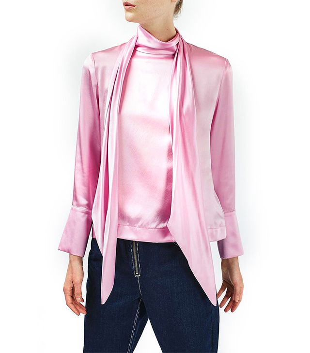 Topshop Satin Tie Blouse by Boutique