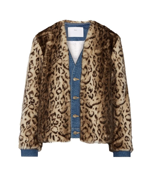 Toga Denim-Trimmed Leopard-Print Faux Fur Jacket