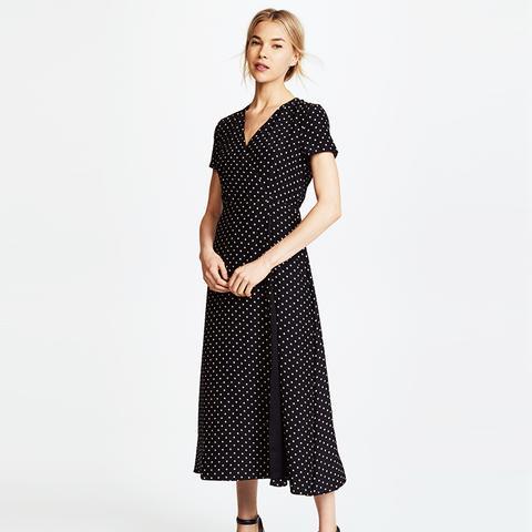 Dot Charmeuse Wrap Dress
