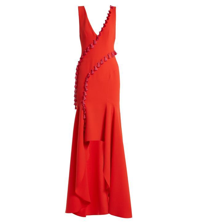 Cuzco tassel-embellished V-neck gown