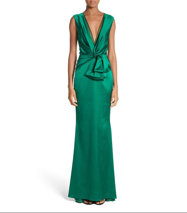 Crepe Satin V-Neck Gown