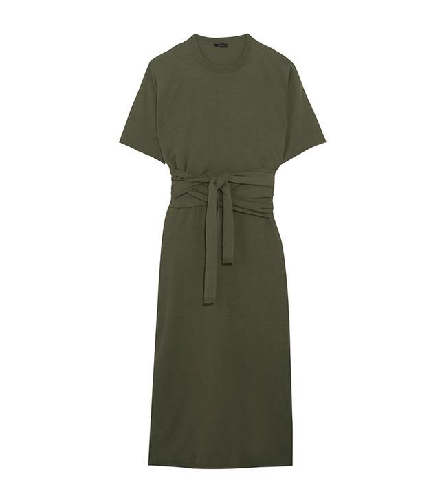 Ivana Tie-front Cotton-jersey MIdi Dress
