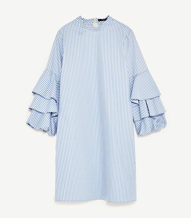 Striped Dress With Frilled Sleeves