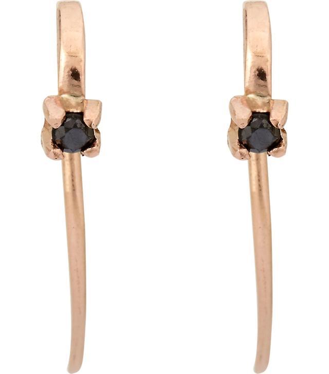 Women's Black Diamond Hook Earrings