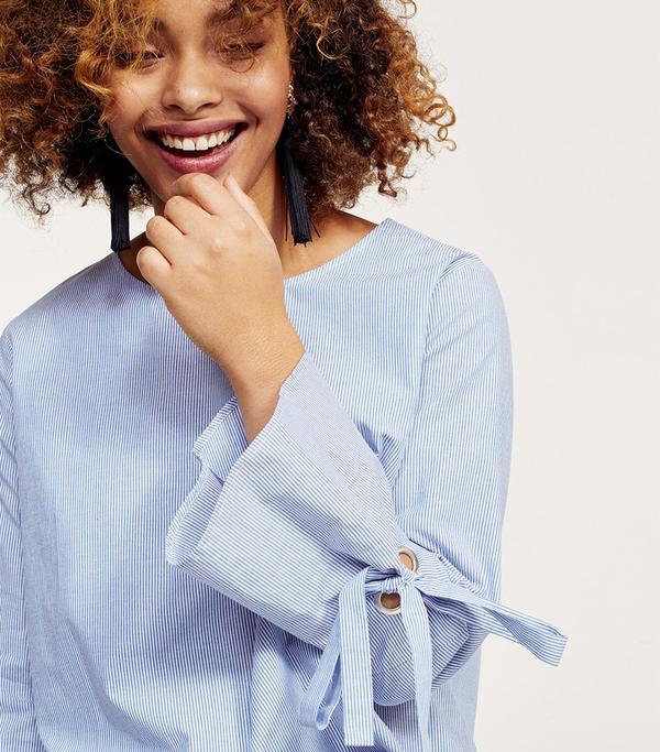 Bows fine-striped blouse