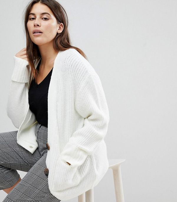 ASOS CURVE Knitted Cardigan in Oversized Rib with Buttons