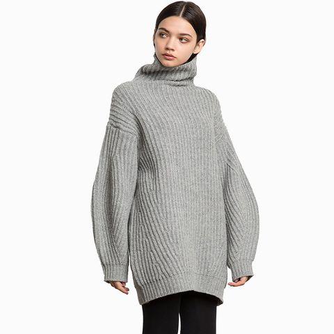 Grey Wool Oversize Cocoon Sweater