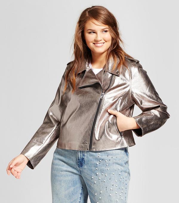 Plus Size Metallic Moto Jacket