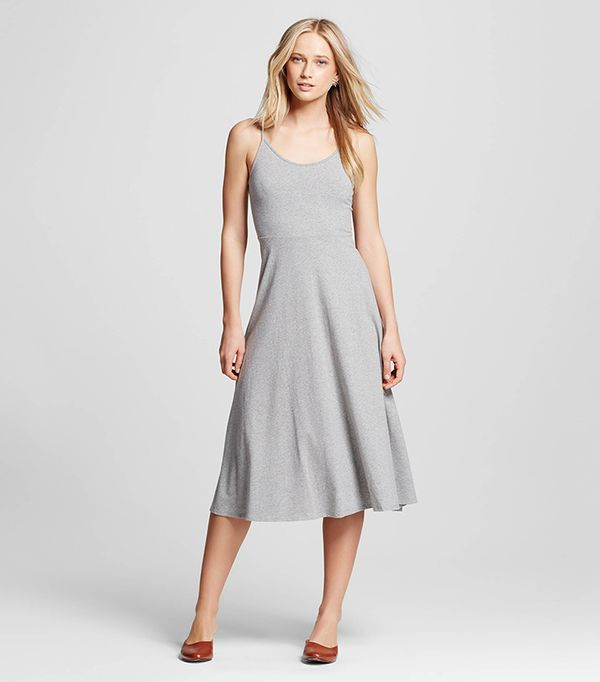 best grey skater midi dress
