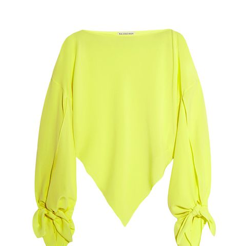 Neon Asymmetric Silk-Georgette Top