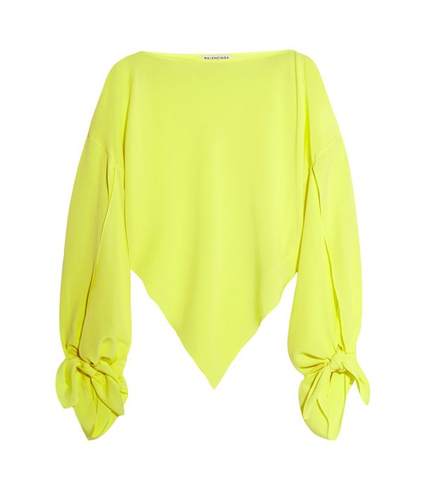 Balenciaga Neon Asymmetric Silk-Georgette Top