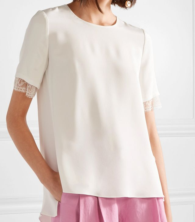 Asymmetric Lace-trimmed Silk-satin Crepe Top
