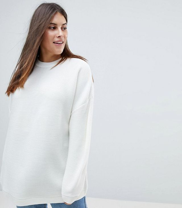 ASOS CURVE Oversized Sweater in Ripple Stitch