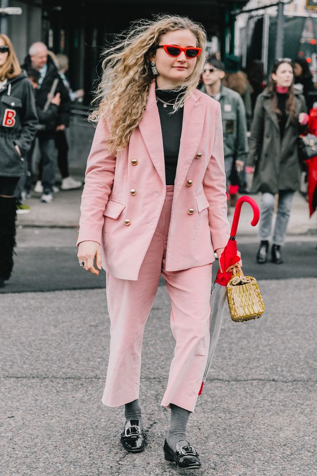 Not all interview outfits need to adhere to a neutral palette.Show off your personality through an unexpected color, but keep the pieces professional. A pink suit like this one could be a...