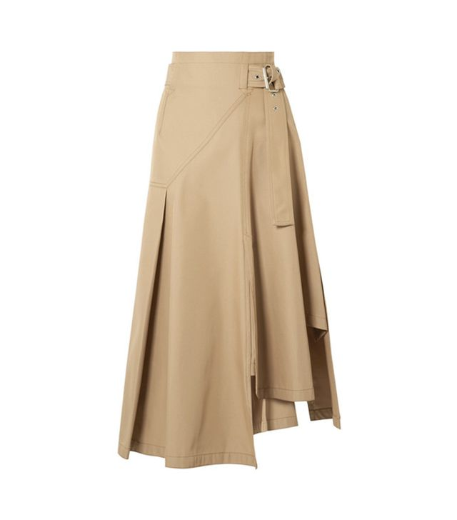 Belted Paneled Twill Midi Skirt