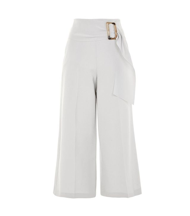 Bonded Cropped Wide Leg Trousers