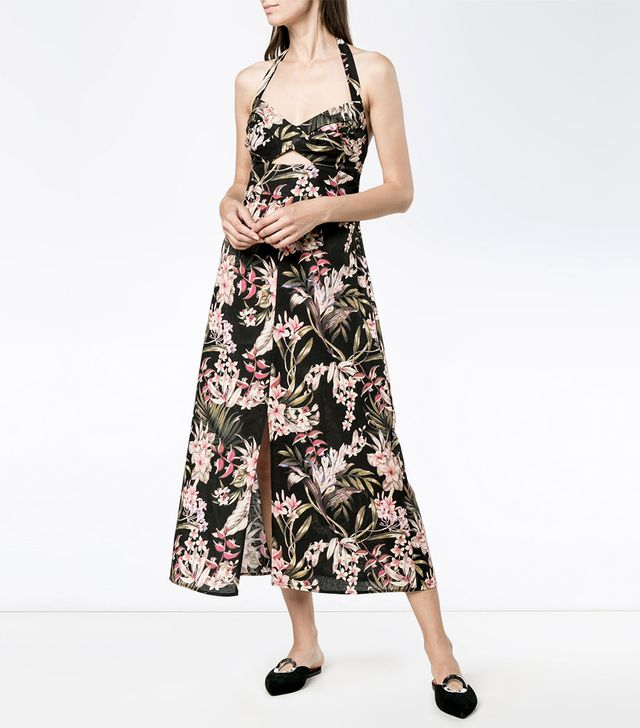 Zimmermann Floral Print Halter Neck Dress