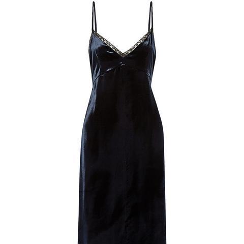 Lace-Trimmed Velvet Dress
