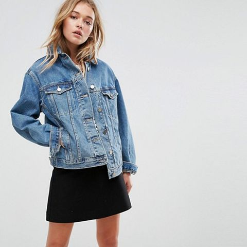 Denim Girlfriend Jacket in Mid Wash Blue