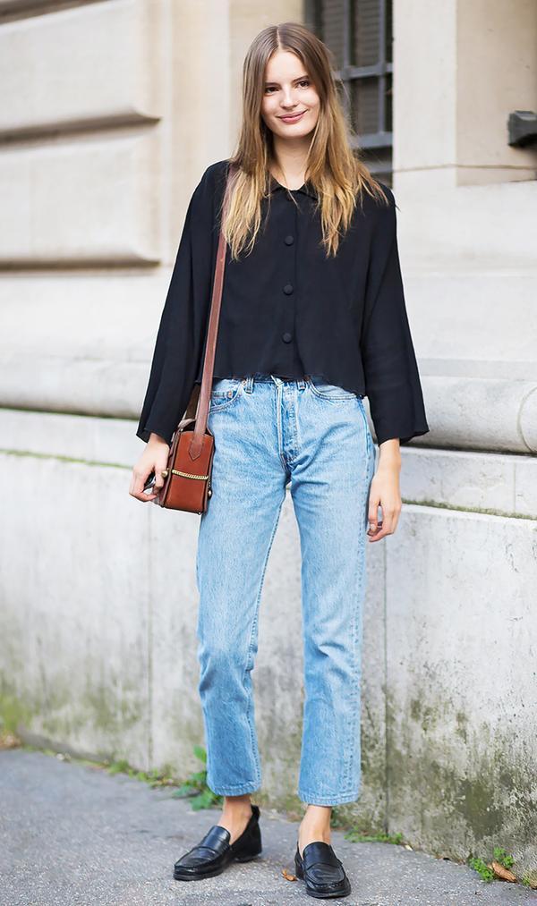 how to wear boyfriend jeans unrolled