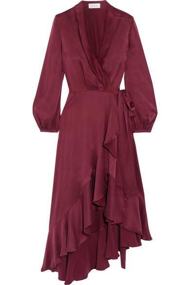 Asymmetric Washed-silk Wrap Midi Dress