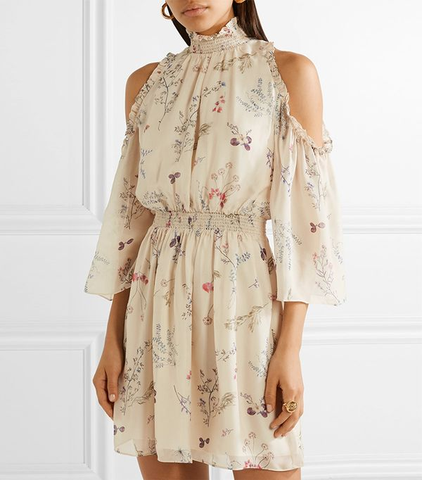 Meade Cold-shoulder Floral-print Silk-chiffon Mini Dress