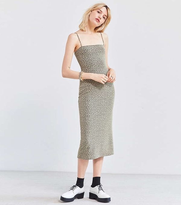 Straight-Neck Midi Dress