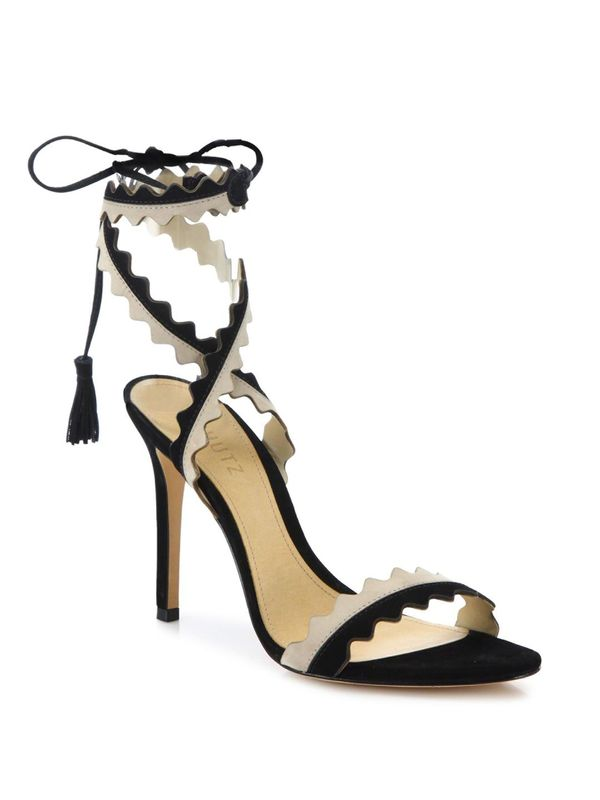 Lisana Two-Tone Leather Lace-Up Sandals