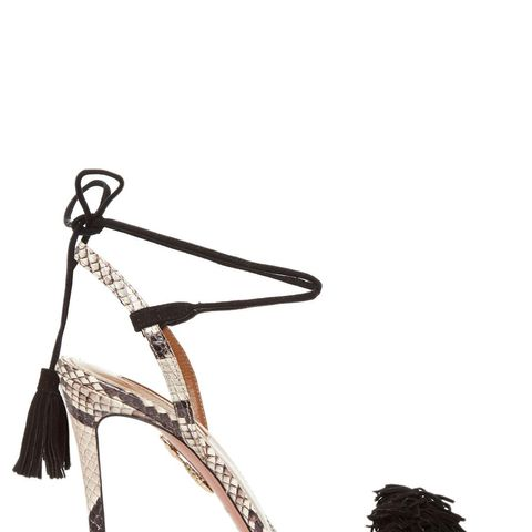 Wild Thing Snakeskin Fringed Sandals