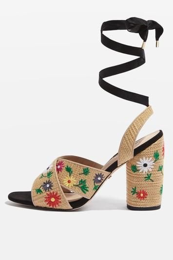 REENA Embroidered Tie Sandals