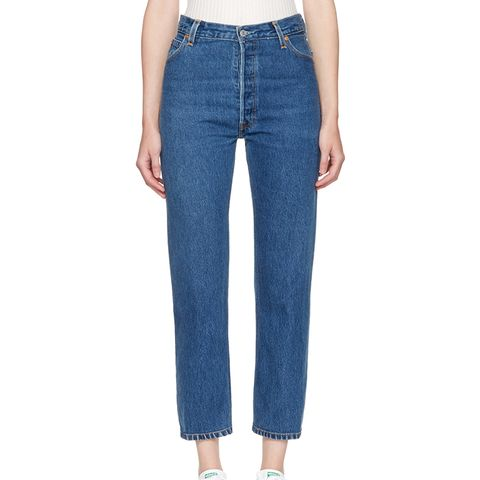 Indigo High-Rise Straight-Crop Jeans