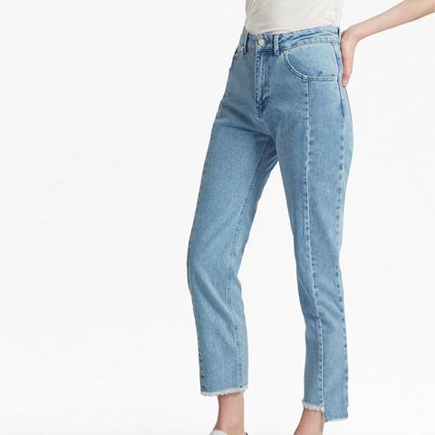 Remix Step-Hem Straight-Leg Jeans