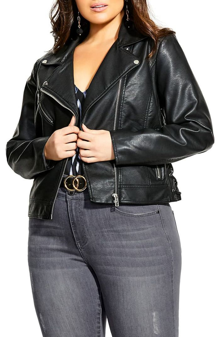 City Chic Lace-Up Sides Faux Leather Biker Jacket