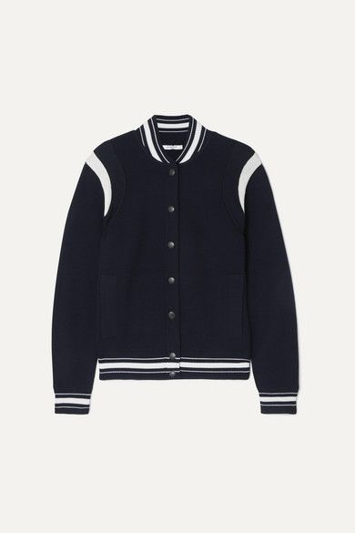 Givenchy Appliquéd Striped Wool-Blend Bomber Jacket