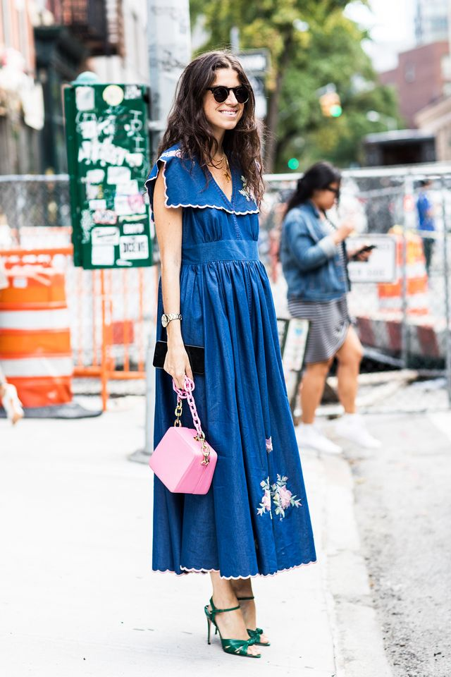 Leandra Medine wearing a maxi dress