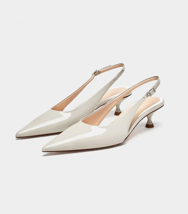 Zara Leather Mid-Heel Slingback Shoes