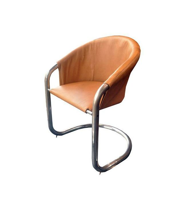 Vintage Modern Leather & Chrome Accent Chair