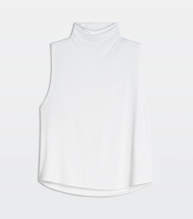 sleeveless mock turtleneck
