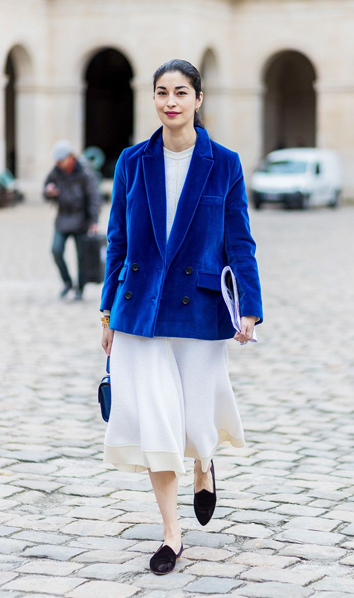 blue and white street style