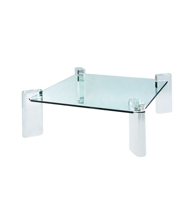Karl Springer Thick Lucite Leg Coffee Table With Glass Top